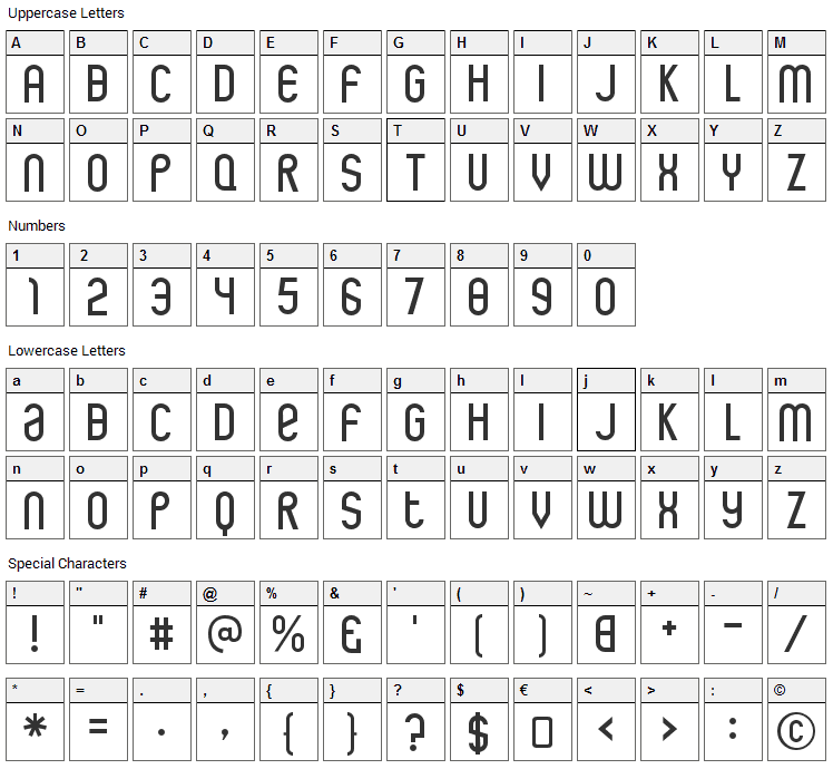 Rothwell Font Character Map