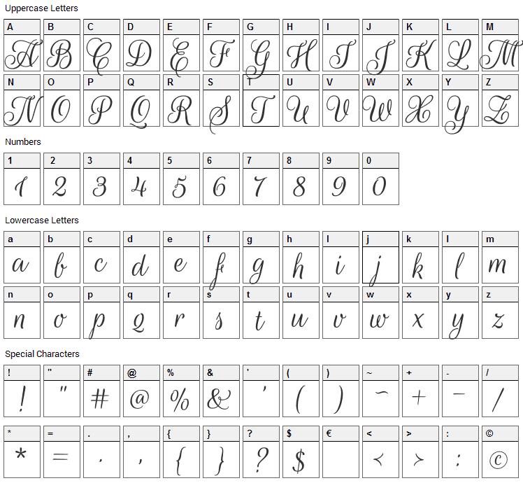 Rouge Script Font Character Map