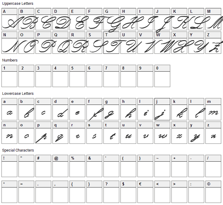 Rough Brush Script Font Character Map