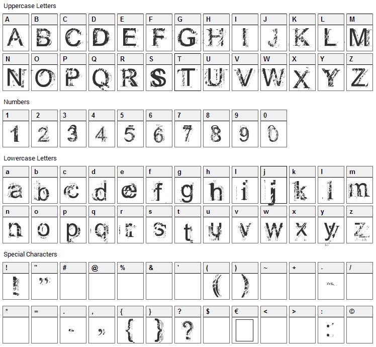 Rough Linen Font Character Map