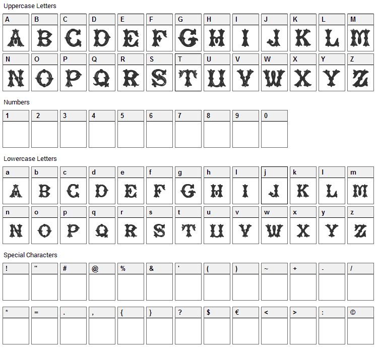 Rough Tuscan Font Character Map
