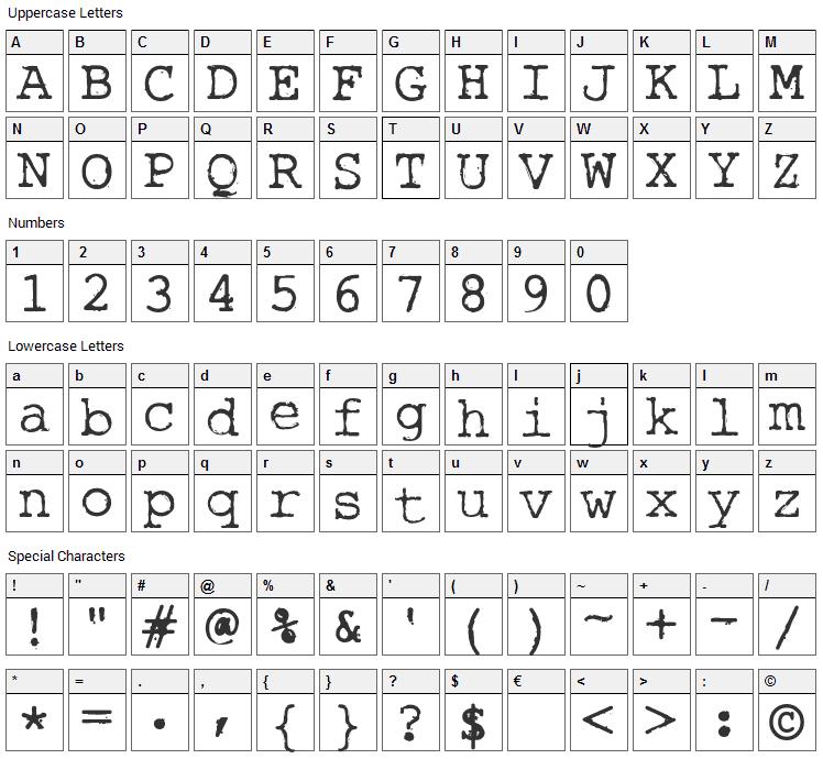 Rough Typewriter Font Character Map