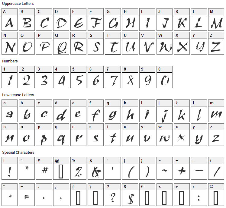 RoughBrush Font Character Map