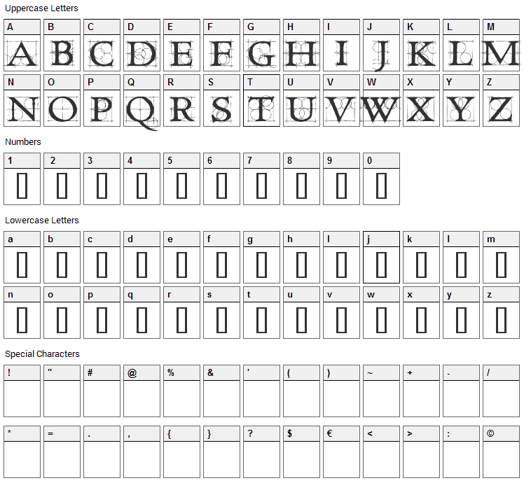 Roughwork Font Character Map
