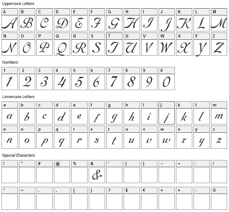 Round Hand Font Character Map