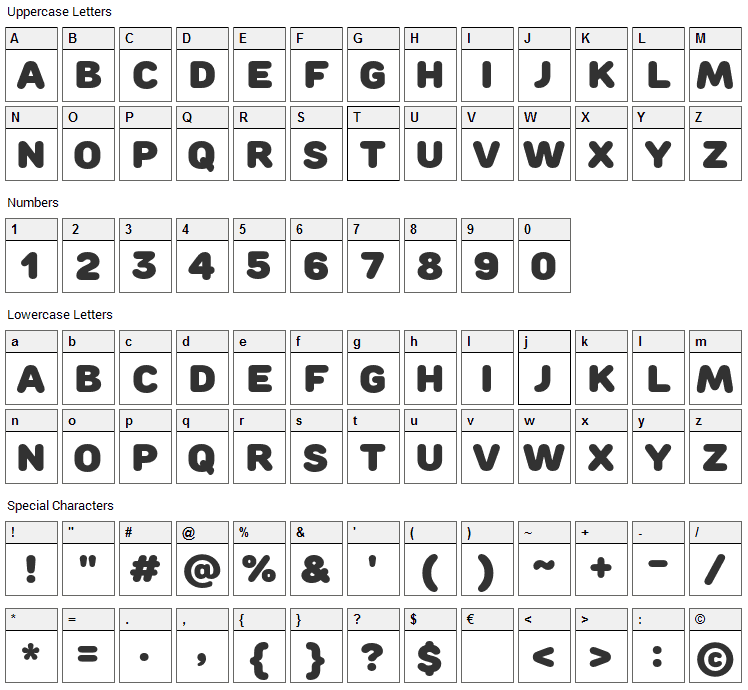 Rounds Black Font Character Map