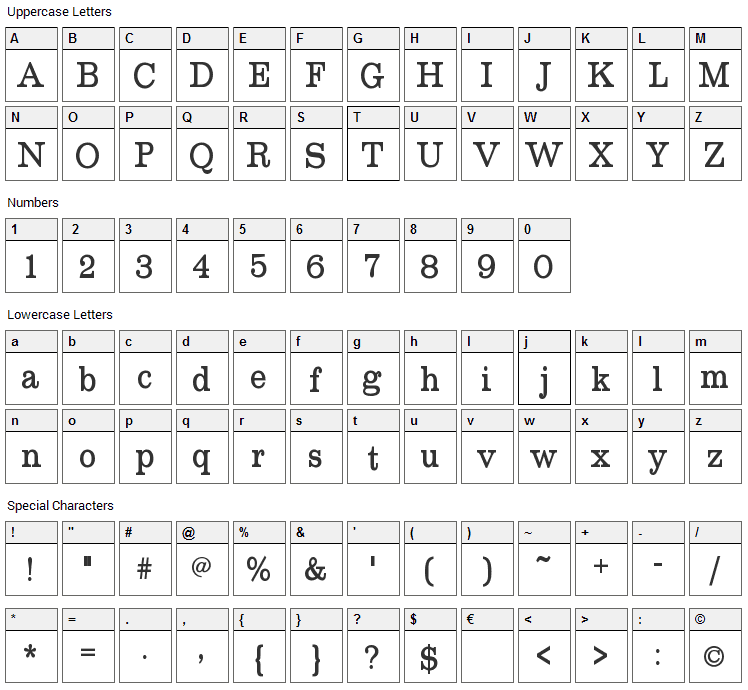 Roundslab Serif Font Character Map