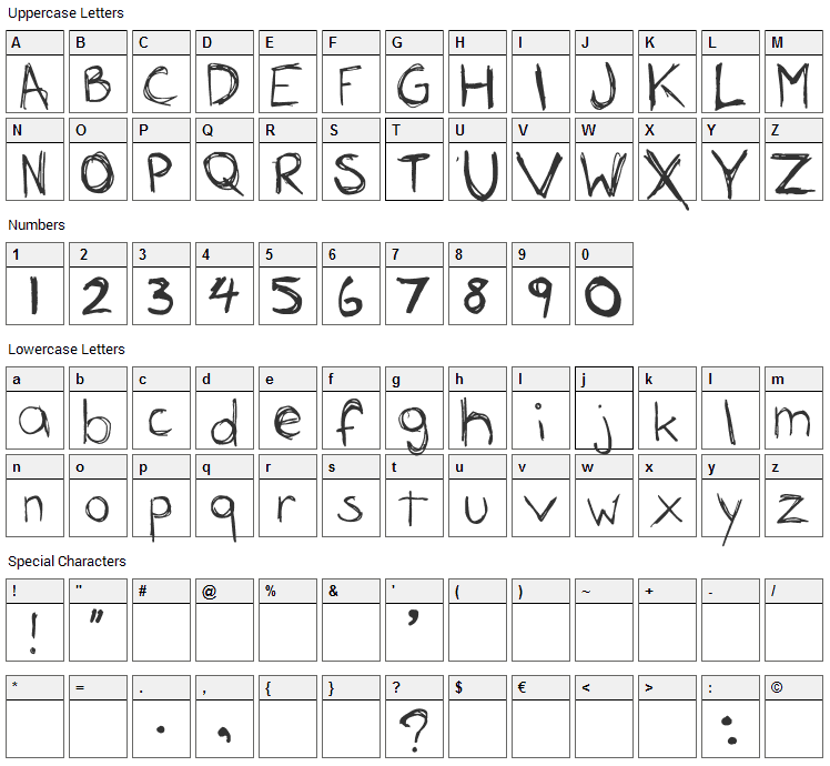 Rousseau Font Character Map