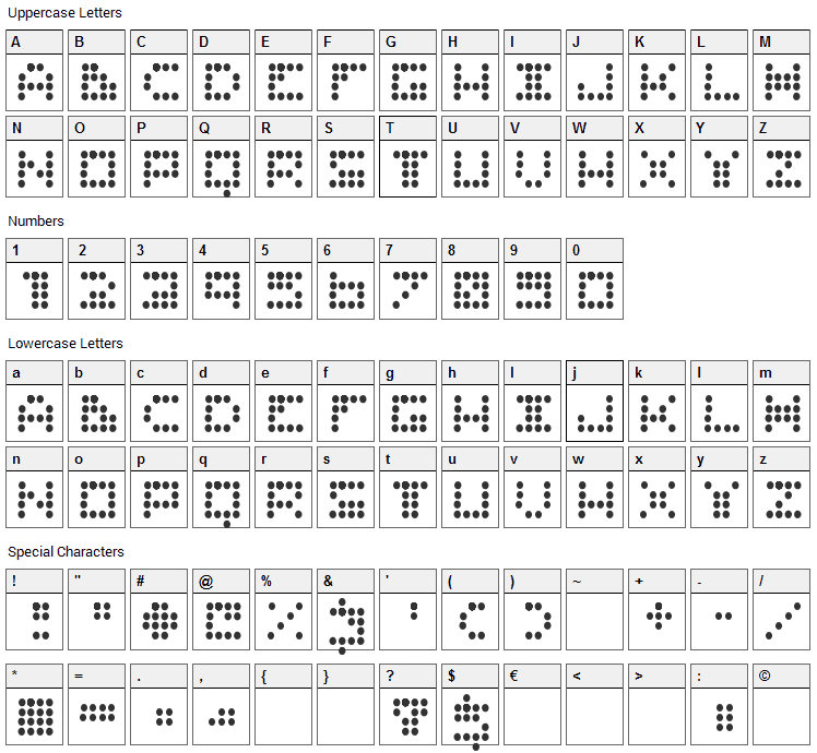Routine Font Character Map