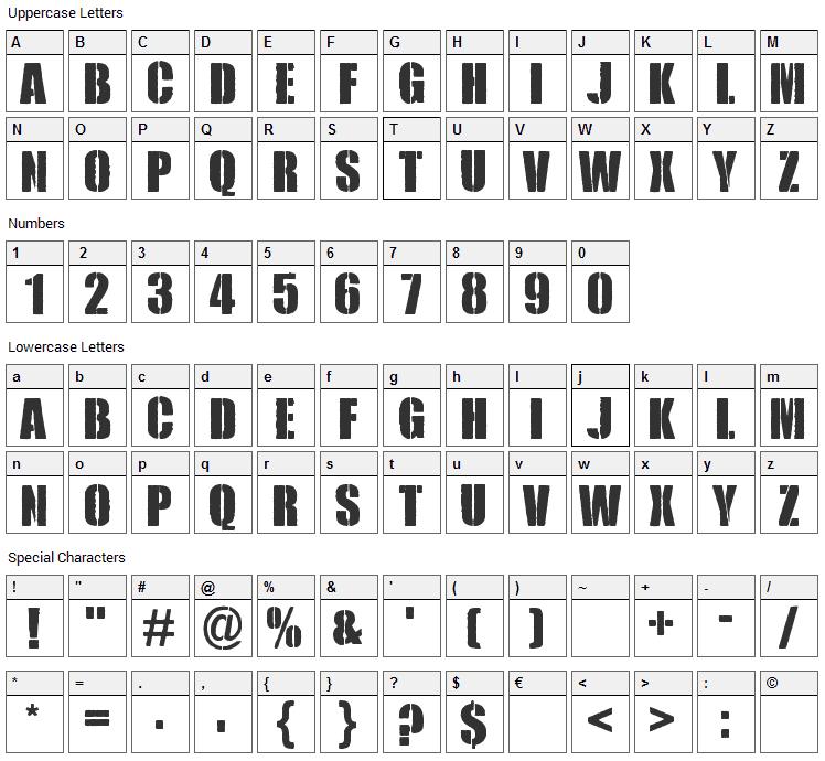 Royal Rumble Font Character Map