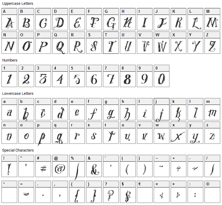 Royal Vanity Font Character Map