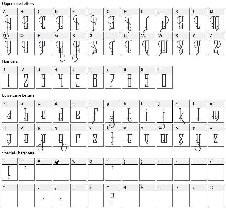 Royalty Savior Font Character Map