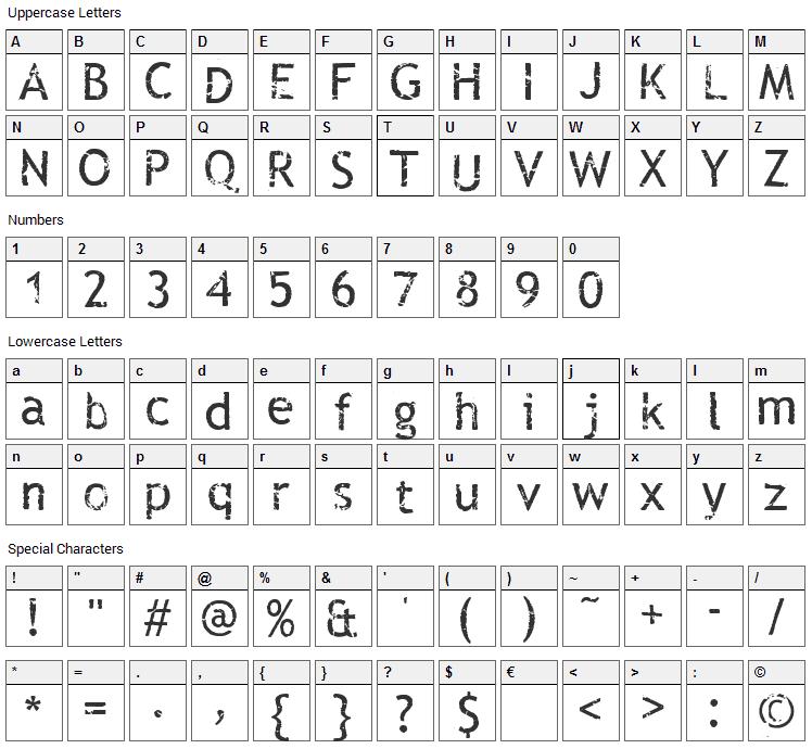 Rub This  Font Character Map