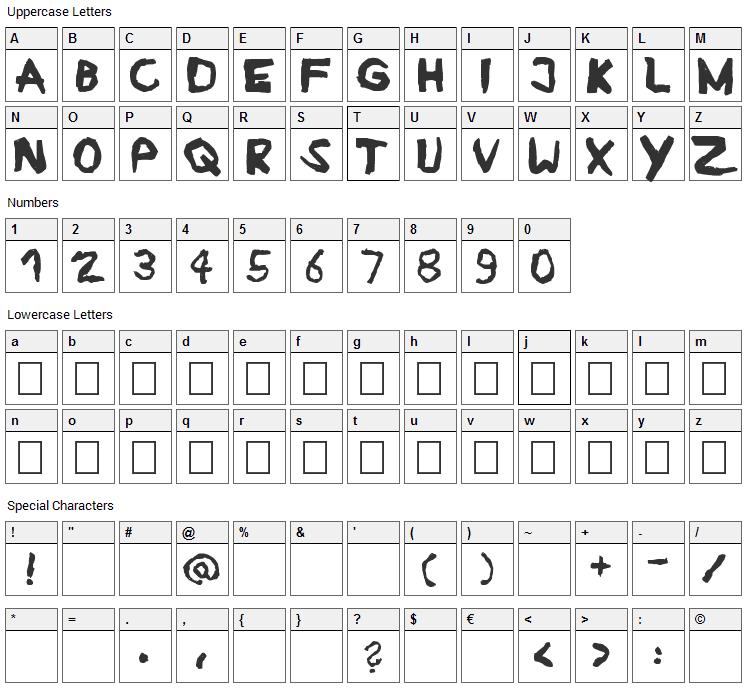 Ruban Font Character Map