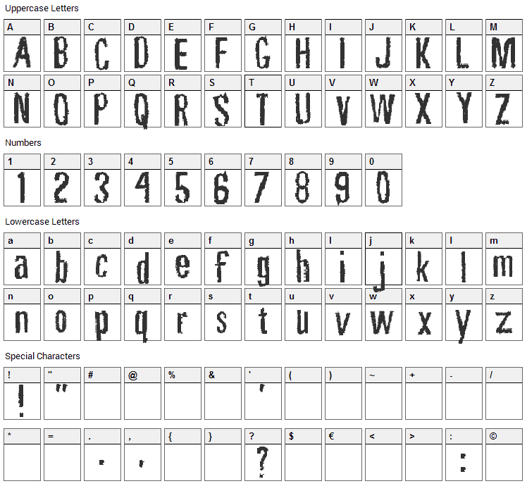 Rubbing Font Character Map