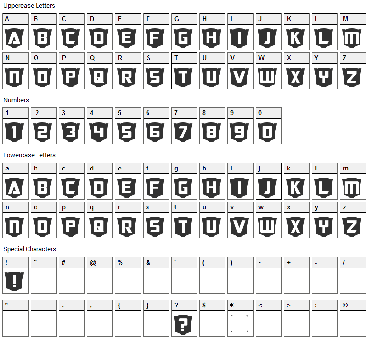 RubCaps Font Character Map