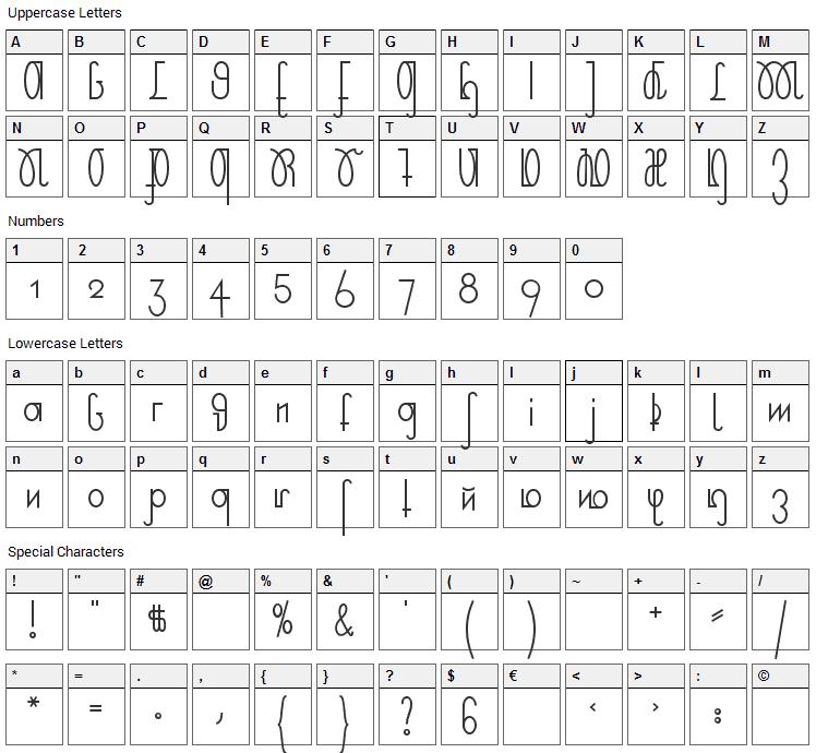 Rudelskopf Deutsch Font Character Map