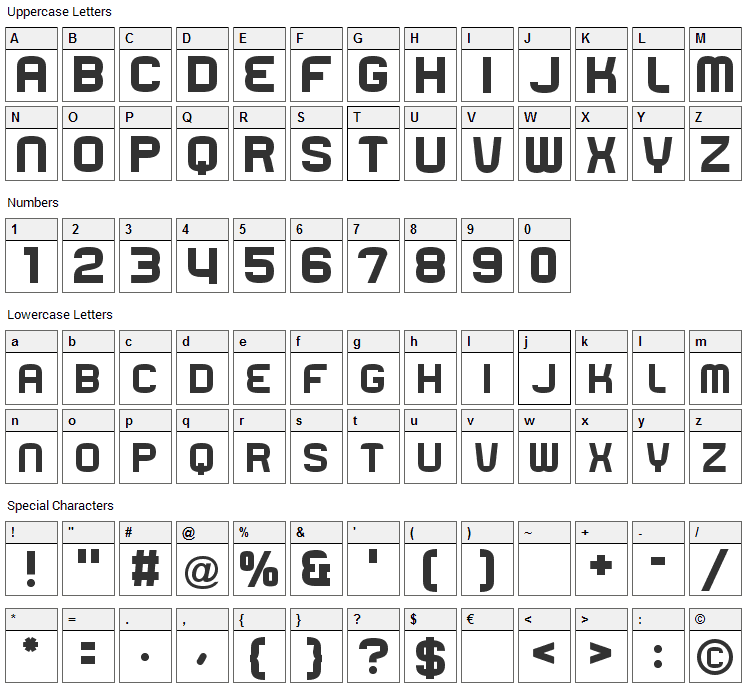 Rueck Font Character Map