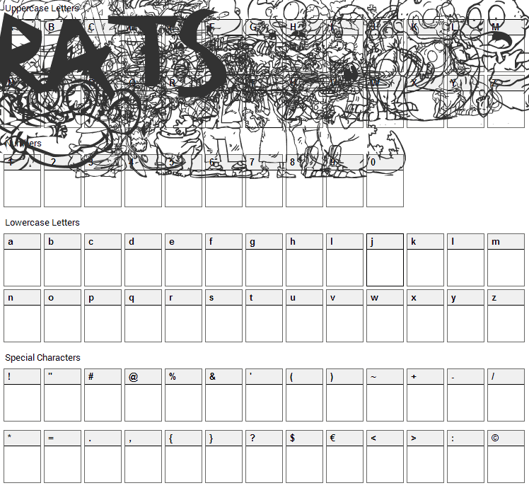 RugBats Font Character Map