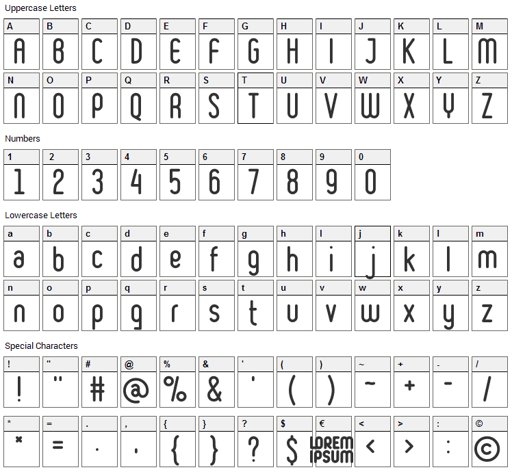 Ruler Font Character Map