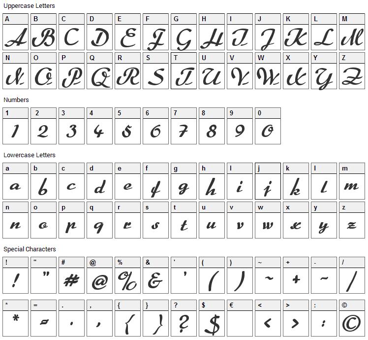 Rumburak Font Character Map