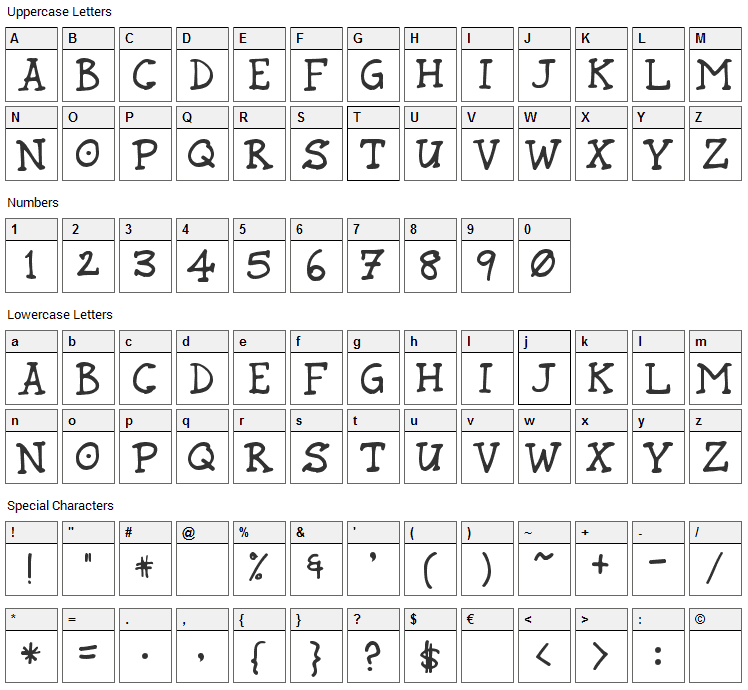 Rund Marker Font Character Map
