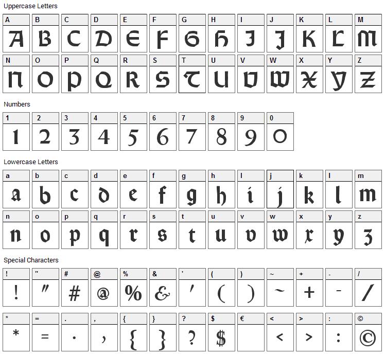 Rundgotisch Rauh Font Character Map