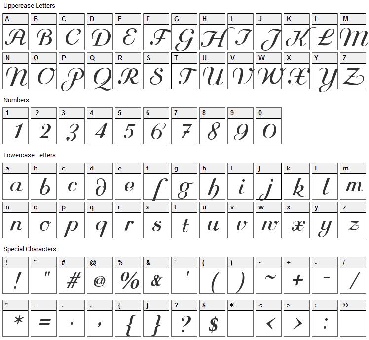 Rundkursiv Font Character Map
