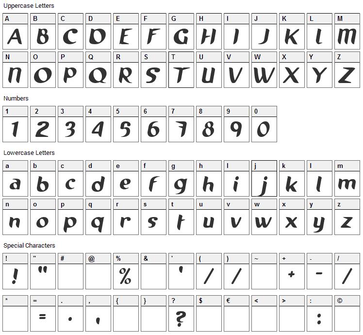 Running Shoe Font Character Map