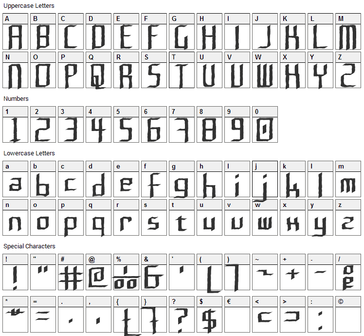 Rushil Font Character Map