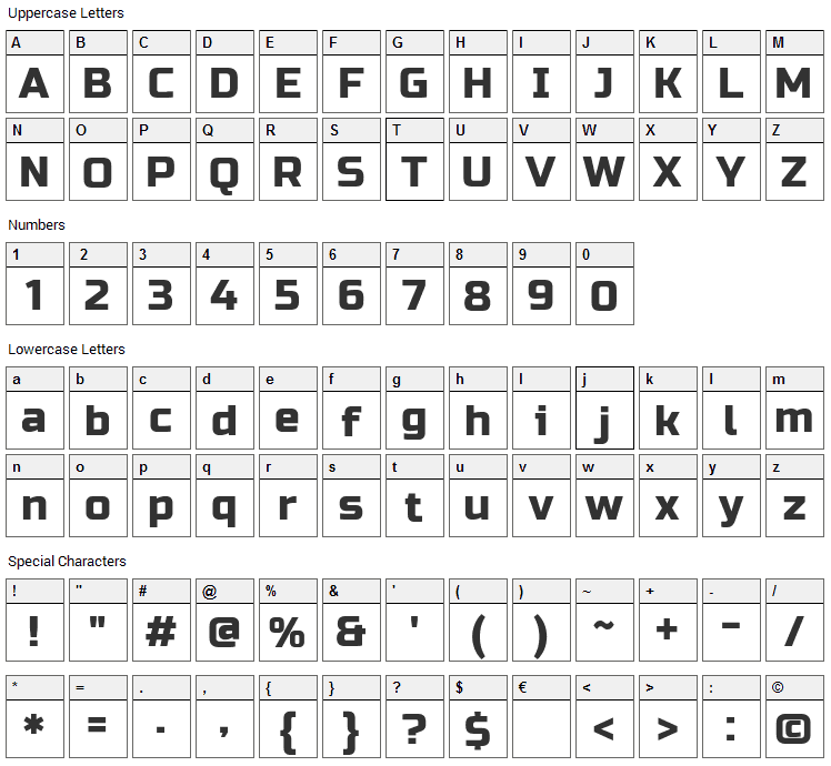 Russo One Font Character Map