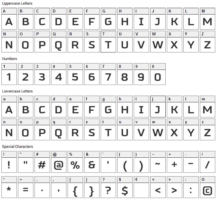 Russo Sans Font Character Map