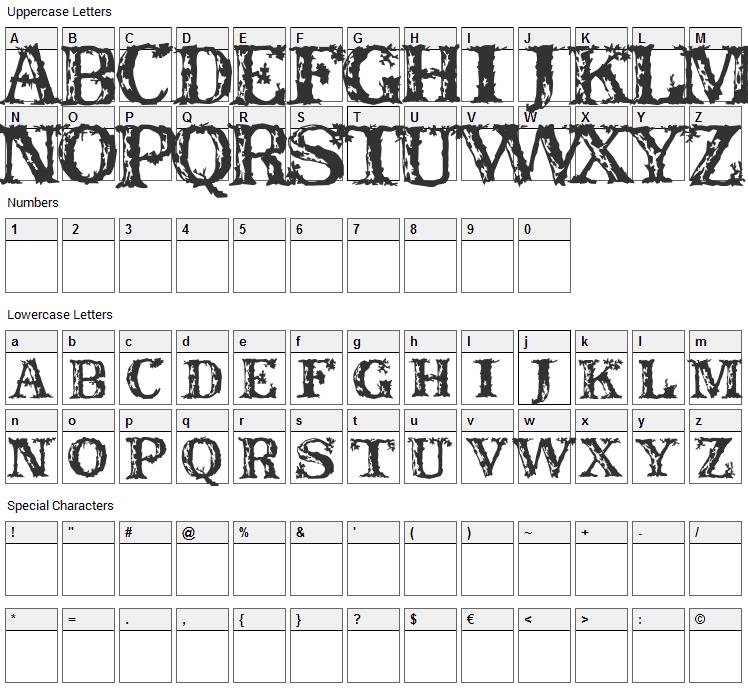 Rustic Font Character Map