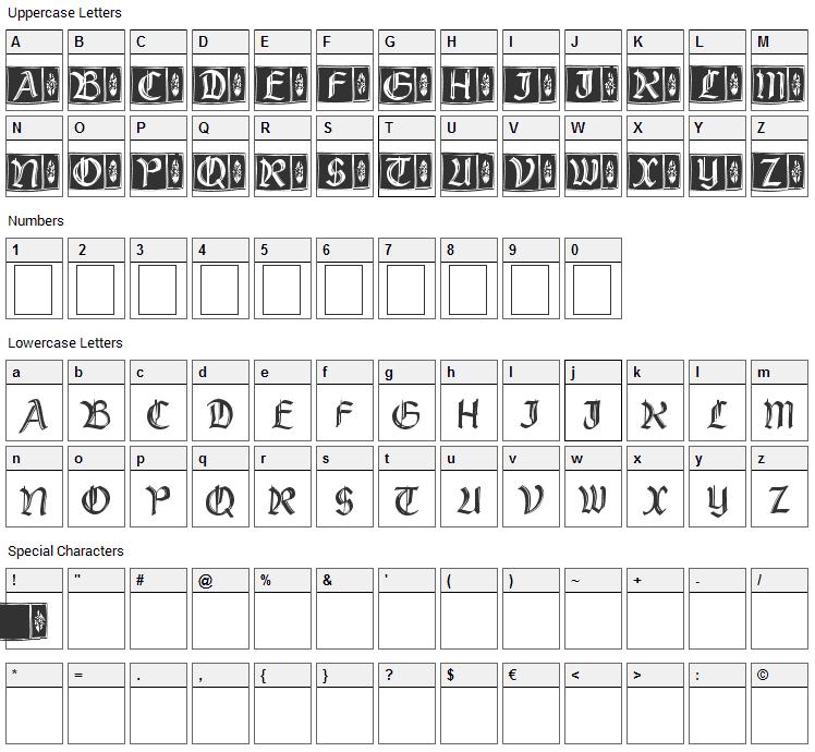 Rustick Capitals Font Character Map