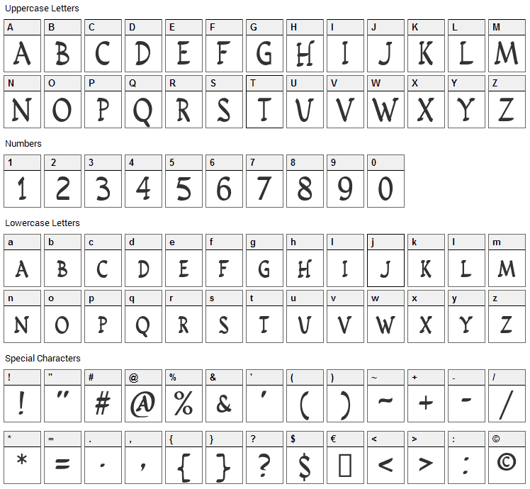 Rusticus STD Font Character Map