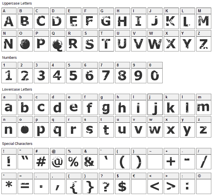 Rusto Font Character Map