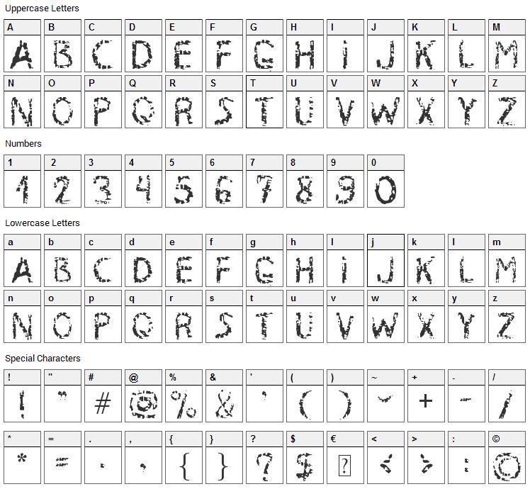 RustyIron Font Character Map