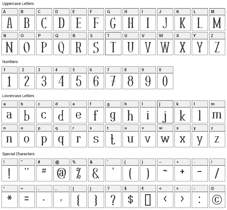 Rutaban Font Character Map