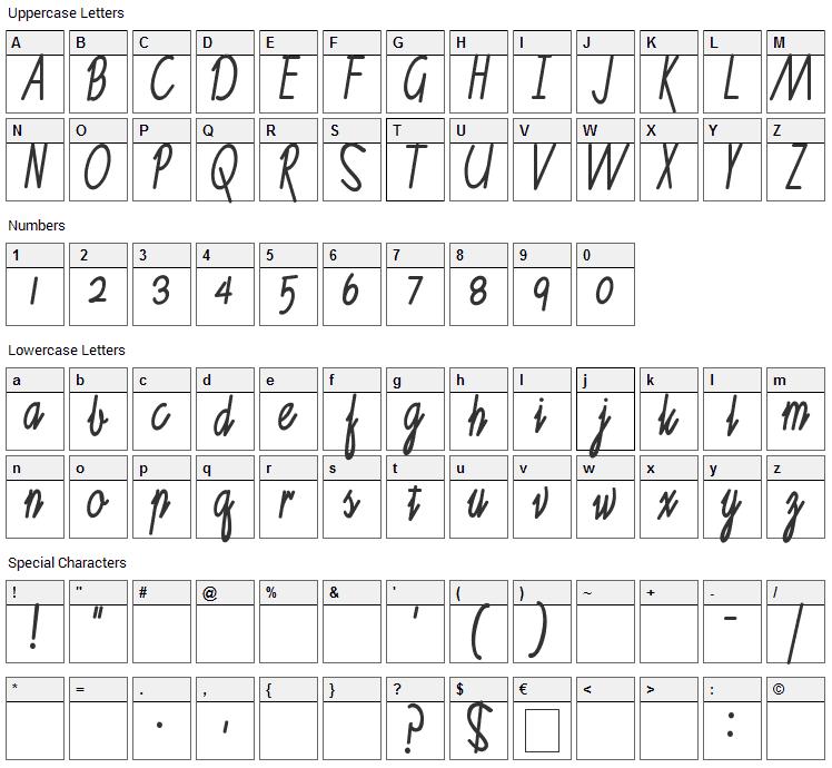 Ruth Script Font Character Map