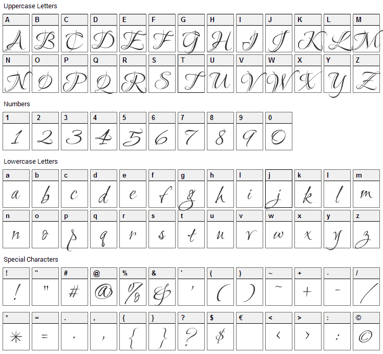 Ruthie Font Character Map