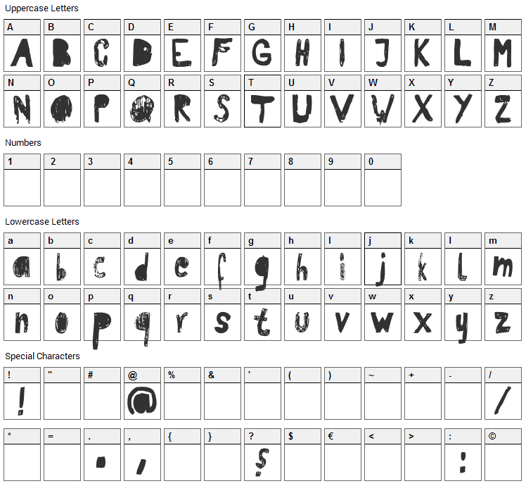 RvD Patterson Font Character Map