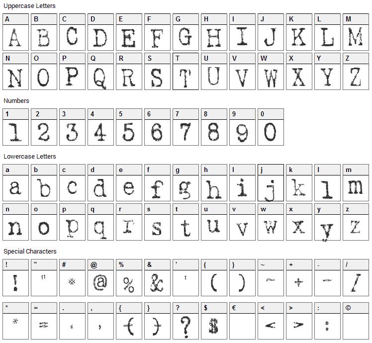 SA Inkspot Font Character Map