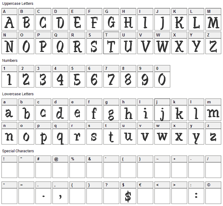 SableBrush Font Character Map