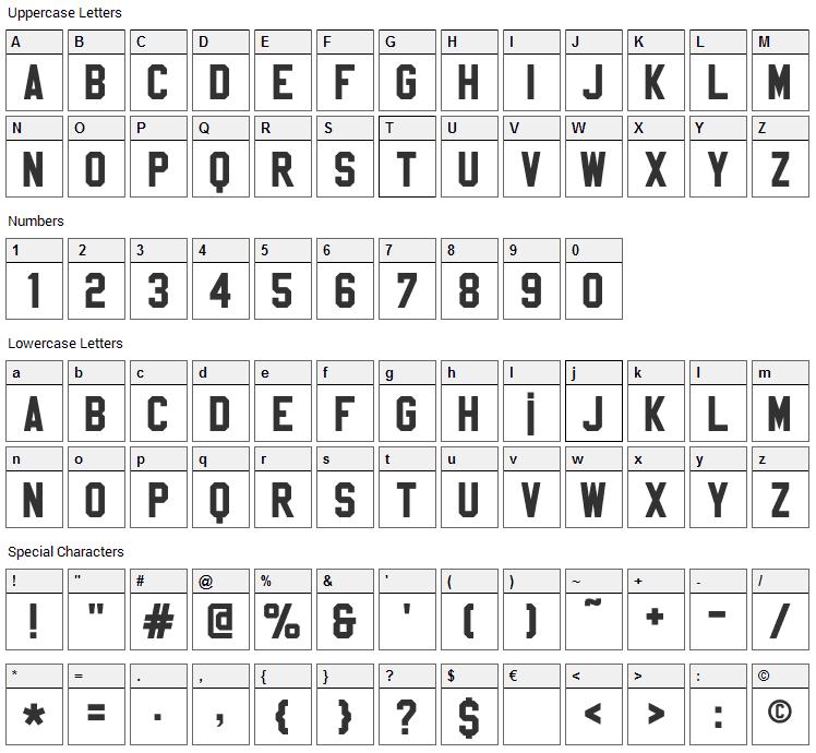 Sablon Up Font Character Map
