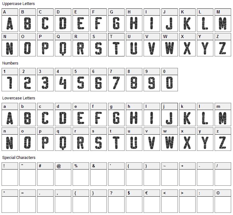 Sablon Washed Font Character Map