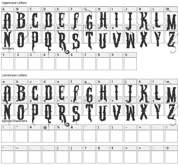 Sabonete Font Character Map