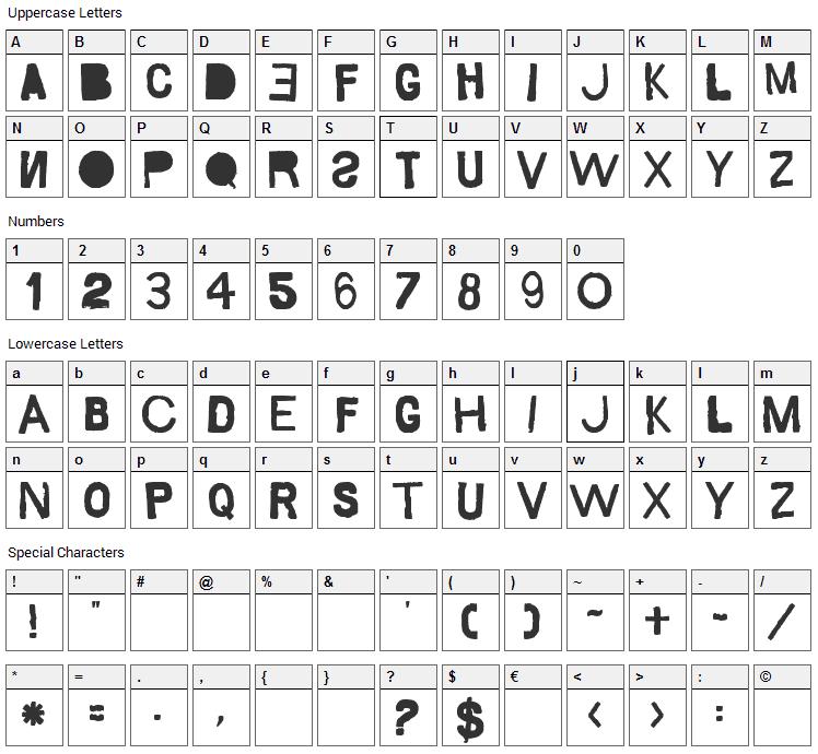Saco de Pao Font Character Map
