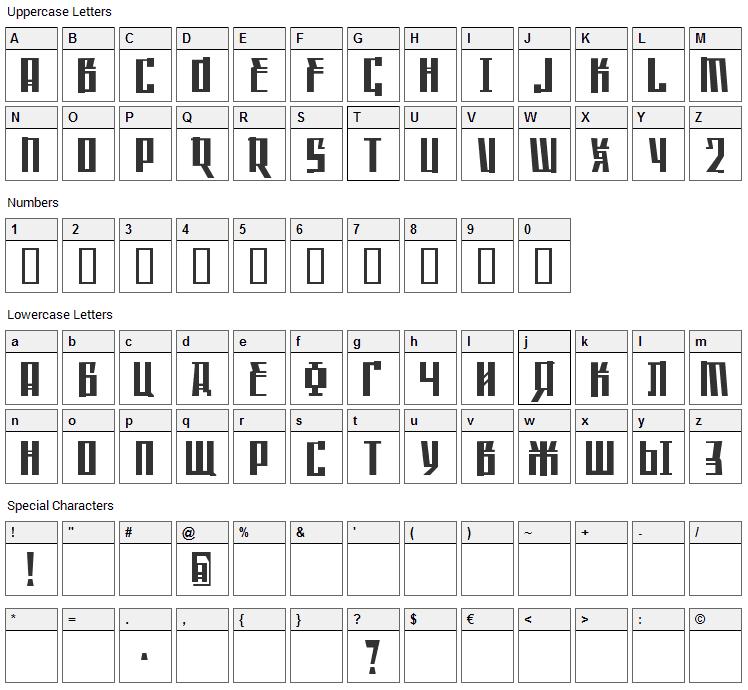 Saffron Font Character Map