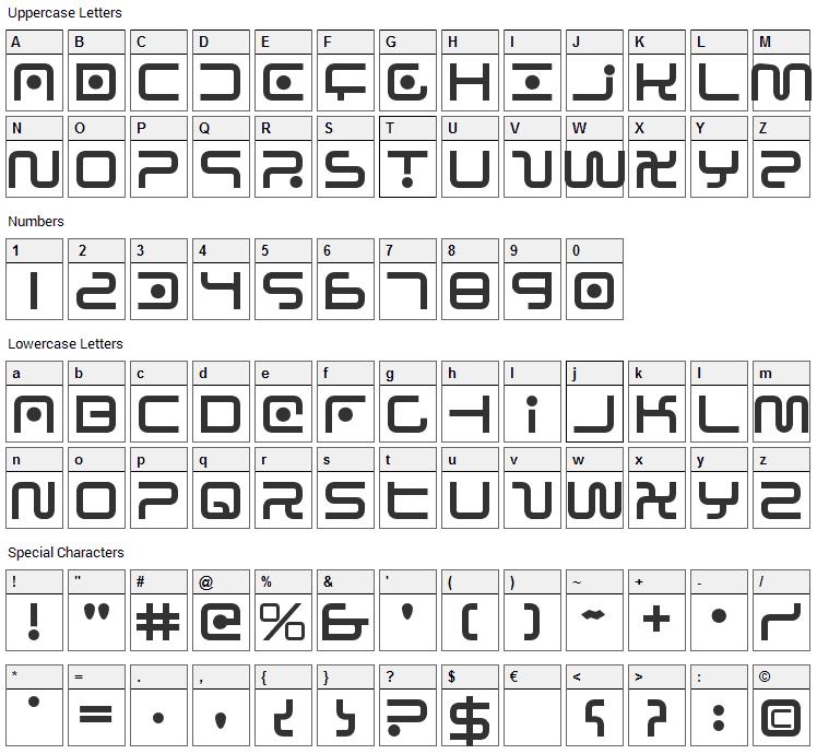 Sagan Font Character Map