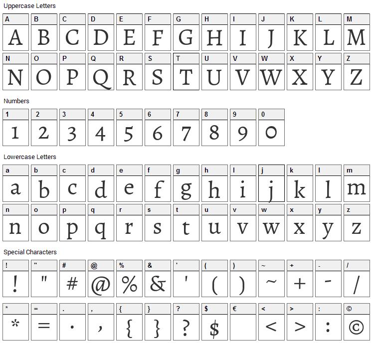 Sahitya Font Character Map